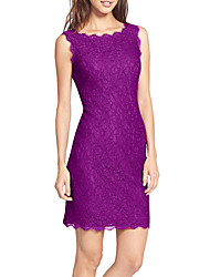 cheap -Women's Purple Green Dress Basic Elegant Event / Party Evening Party Shift Sheath Solid Colored Lace Lace Trims S M