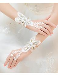 cheap -Glitter Wrist Length Glove Lace With Trim