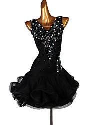 cheap -Latin Dance Dresses Women's Training Spandex / Organza Pearls / Cascading Ruffles / Split Joint Sleeveless High Dress