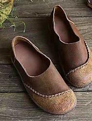 cheap -Women's Flats Flat Heel Round Toe Stitching Lace Faux Leather Vintage Walking Shoes Fall Black / Coffee / Khaki