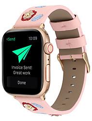 Недорогие -подходит для яблочных умных часов apple iwatch 1/2/3/4 38мм / 40мм / 42мм / 44мм s-style креативный цветочный вышитый ремешок из натуральной кожи