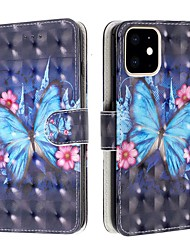 cheap -Case For Apple iPhone 11 / iPhone 11 Pro / iPhone 11 Pro Max Wallet / Card Holder / Flip Full Body Cases Butterfly PU Leather