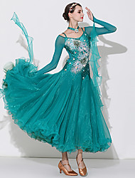 cheap -Ballroom Dance Dresses Women's Performance Spandex / Organza / Tulle Appliques / Crystals / Rhinestones Long Sleeve High Dress / Neckwear