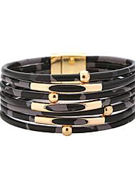cheap -Women's Bracelet Bangles Layered Mini Artistic Trendy Oversized PU Leather Bracelet Jewelry Black / White / Coffee For Graduation Street Club