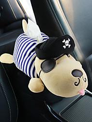 cheap -Ultra-realistic pet tissue box with stretch car sleeve / seat / visor cartoon dog tissue box short plush car