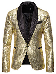 cheap -Men's Blazer, Solid Colored Shirt Collar Polyester Gold / Silver