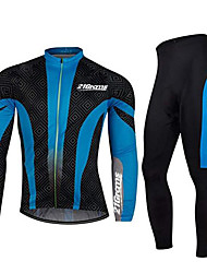 cheap -21Grams Men's Long Sleeve Cycling Jersey with Tights Winter Spandex Polyester Black / Blue Patchwork Bike Clothing Suit Thermal / Warm Breathable Quick Dry Anatomic Design Reflective Strips Sports