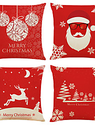cheap -Set of 4 Christmas Crystal Ball Linen Square Decorative Throw Pillow Cases Sofa Cushion Covers 18x18