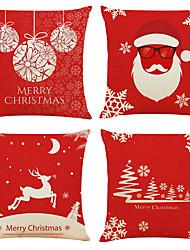 Недорогие -Набор из 4-х рождественских хрустальных шариков из льна квадратные декоративные наволочки дивана наволочки 18x18