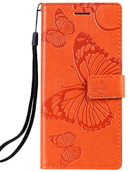 cheap -Case For Samsung Galaxy Note 10 Galaxy Note 10 Plus Phone Case PU Leather Material Embossed Butterfly Pattern Solid Color Phone Case