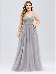 cheap -A-Line V Neck Floor Length Tulle Plus Size Prom Dress with Beading / Appliques 2020