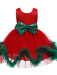 cheap -Kids Toddler Girls' Active Sweet Floral Christmas Patchwork Sleeveless Knee-length Dress Red