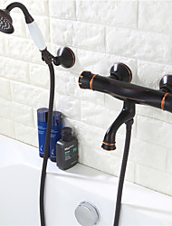 cheap -Shower Faucet - Contemporary Oil-rubbed Bronze Wall Mounted Ceramic Valve Bath Shower Mixer Taps