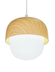 cheap -1-Light Nordic Style Pendant Light Imitation Wood Grain Acrylic Lampshade Painted Finishes Metal