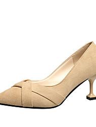 cheap -Women's Heels Kitten Heel Pointed Toe PU Minimalism Fall Black / Almond / Daily