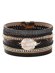 cheap -Women's Freshwater Pearl Bracelet Bangles Layered Ball Punk Gothic Oversized Pearl Bracelet Jewelry Black / White / Rainbow For Daily School Street / Leather / Imitation Diamond