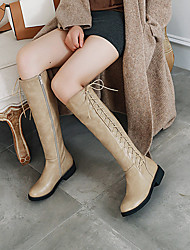 cheap -Women's Boots Knee High Boots Flat Heel Round Toe PU Knee High Boots Fall & Winter Black / Brown / Khaki