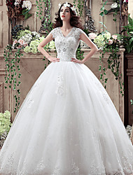 cheap -A-Line / Ball Gown V Neck Floor Length Polyester / Lace / Tulle Short Sleeve Simple Little White Dress Made-To-Measure Wedding Dresses with Crystals / Lace 2020