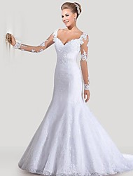 cheap -Mermaid / Trumpet Sweetheart Neckline Court Train Lace / Tulle / Lace Over Satin Long Sleeve Sexy Backless / Illusion Sleeve Wedding Dresses with Appliques 2020 / Bell Sleeve