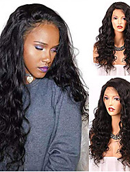 Недорогие -человеческие волосы Remy Лента спереди Парик Свободная часть стиль Бразильские волосы Волнистый Черный Парик 130% 150% 180% Плотность волос