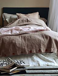 cheap -Duvet Cover Sets Solid Colored Linen / Cotton Applique 3 PieceBedding Sets