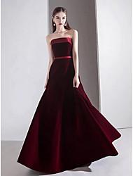 cheap -A-Line Strapless Floor Length Satin / Velvet Vintage Inspired Prom Dress with Sash / Ribbon 2020
