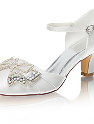 cheap -Women's Wedding Shoes Chunky Heel Round Toe Rhinestone / Bowknot Satin Spring &  Fall / Summer Ivory / Party & Evening