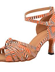 cheap -Women's Dance Shoes PU Latin Shoes Heel Flared Heel Customizable Almond / Purple / Yellow