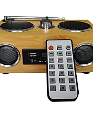 cheap -Mini portable bamboo wood card speaker with Radio and Remote Control function