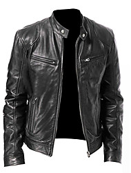 cheap -Men's Fall Stand Collar Faux Leather Jacket Regular Solid Colored Daily Basic Long Sleeve Black Brown M L XL XXL / Winter