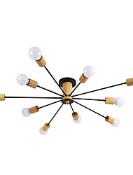 cheap -10-Light 10-Head Nordic Style Wood With Metal Ceiling Lamp Semi Flush Modern Living Room Dining Room Bedroom Ceiling lights
