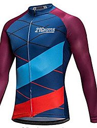 cheap -21Grams Men's Long Sleeve Cycling Jersey Winter Fleece 100% Polyester Red+Blue Bike Jersey Top Mountain Bike MTB Road Bike Cycling Thermal / Warm UV Resistant Breathable Sports Clothing Apparel