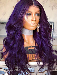 cheap -Synthetic Lace Front Wig Wavy Matte Kardashian Middle Part Lace Front Wig Long Dark Purple Synthetic Hair 22-26 inch Women's Heat Resistant Women Middle Part Purple / Glueless
