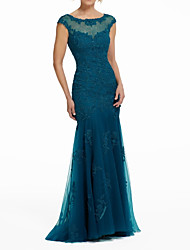 cheap -Mermaid / Trumpet Jewel Neck Sweep / Brush Train Lace / Tulle Elegant Formal Evening Dress with Beading / Appliques 2020
