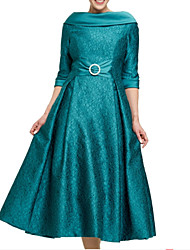 cheap -A-Line Jewel Neck Ankle Length Satin Half Sleeve Elegant & Luxurious Mother of the Bride Dress with Sash / Ribbon / Ruching 2020