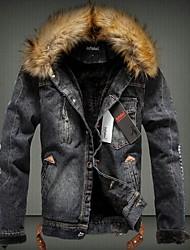 cheap -Men's Daily Fall & Winter Regular Denim Jacket, Solid Colored Hooded Long Sleeve Polyester Black / Light Blue