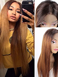 cheap -Remy Human Hair 4x13 Closure Lace Front Wig Middle Part Side Part Free Part style Brazilian Hair Straight Wig 150% Density Women Best Quality New New Arrival Hot Sale Women's Medium Length Human Hair