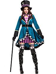 abordables -Les aventures d'Alice au Pays des Merveilles Chapelier Fou Femme Cosplay de Film Halloween Bleu Manteau Haut Jupe Halloween / Gants / Chapeau / Cravate / Ceinture de Tour de Taille / Gants