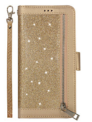 cheap -Case For Apple iPhone XR / iPhone XS Max / iPhone X Card Holder / Magnetic / Glitter Shine Full Body Cases Solid Colored / Glitter Shine PU Leather / TPU