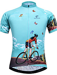 cheap -JESOCYCLING Women's Short Sleeve Cycling Jersey Sky Blue Bike Jersey Mountain Bike MTB Road Bike Cycling Breathable Quick Dry Anatomic Design Sports 100% Polyester Clothing Apparel / Stretchy