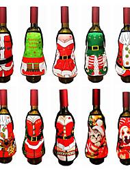 cheap -2pcs Christmas Accessories Wine Bottle Santa Claus Snowman Bottle Cover Set New Year Bag Christmas Dinner Christmas Decoration