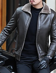 cheap -Men's Daily Fall & Winter Regular Leather Jacket, Solid Colored Turndown Long Sleeve PU Black / Brown
