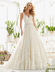cheap -A-Line V Neck Court Train Lace / Tulle / Lace Over Satin Regular Straps Romantic Illusion Detail / Backless Wedding Dresses with 2020
