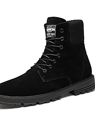 cheap -Men's Suede Shoes Suede Fall & Winter British Boots Walking Shoes Warm Booties / Ankle Boots Black / Black / Gold / Combat Boots