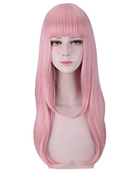 cheap -Synthetic Wig Cosplay Wig Straight Natural Wave With Bangs Wig Pink Long Pink Synthetic Hair 26 inch Women's Cosplay Creative Heat Resistant Pink