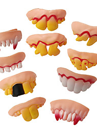 cheap -10pcs Fake Teeth Toy Funny Teeth for Vampire Zombie Halloween Dentures Cosplay Props Costume Party Decoration Novelty Gags Toy