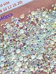 cheap -1440pcs Mix 6 Size Round Crystal transparent AB Glass Flat Back Nail Rhinestone