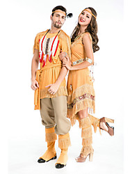 cheap -American Indian Cosplay Costume Masquerade Adults' Couple's Cosplay Halloween Halloween Festival / Holiday Polyster White / Yellow Couple's Carnival Costumes