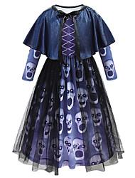 Недорогие -Дети Девочки Винтаж Богемный Геометрический принт Halloween Длинный рукав Средней длины Платье Синий