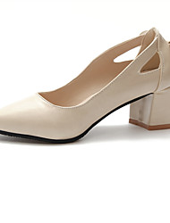 cheap -Women's Heels Chunky Heel Pointed Toe Faux Leather / PU Fall / Spring & Summer Black / Almond